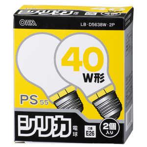 オーム電機 白熱電球 E26 40W ホワイト 2個入 ホワイト LBD5638W2P
