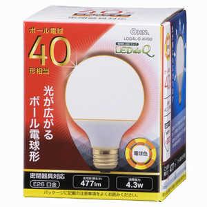 オーム電機 LED電球 LEDdeQ ホワイト [E26/電球色/40W相当/ボール電球形/広配光] E26/L/ボール LDG4LGAH92