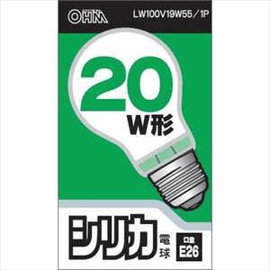 オーム電機 シリカ電球 ホワイト [E26 /電球色 /1個 /一般電球形] ホワイト LW100V19W551P
