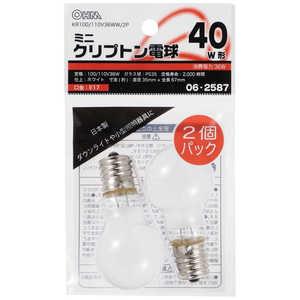 オーム電機 電球 ホワイト[E17/電球色/2個/40W相当/一般電球形] E17/L/40W KR100110V36WW2P
