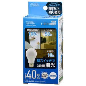 オーム電機 LED電球 E26 40形相当 3段階調光 昼光色 E26/D/40W LDA4DGDAG93