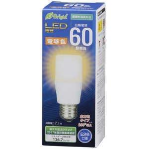 オーム電機 LED電球 E-Bright ホワイト [E26/電球色/60W相当/T形/全方向] LDT7LGAG20