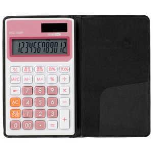 オーム電機 手帳タイプ電卓 税率切り替え 12桁 ピンク KCL130P
