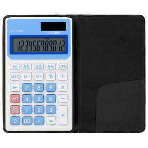オーム電機 手帳タイプ電卓 税率切り替え 12桁 ブルー KCL130A
