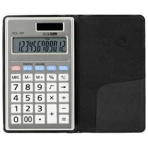 オーム電機 ハンディー型電卓 税率切り替え 手帳タイプ 12桁 シルバー KCL101