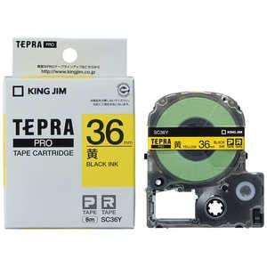 キングジム テプラ カラーラベルテープ(黄テープ/黒文字/36mm幅) イエロー SC36Y