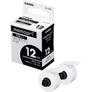 カシオ CASIO メモプリンターテープ 12mm幅(白テープ) ホワイト XA12WE