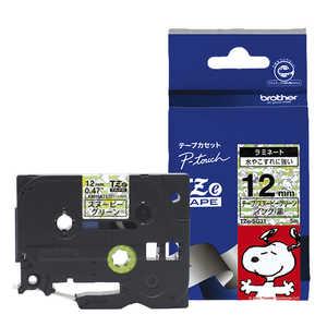 ブラザー brother 【純正】ピータッチ ラミネートテープ 幅12mm (黒文字/スヌーピーグリーン) TZESG31