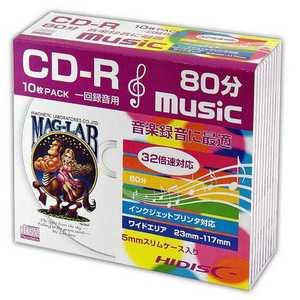 HIDISC CD-R音楽用 80分 32倍速対応 10枚 5mmSlimケース入りホワイトワイドプリンタブル HDCR80GMP10SC