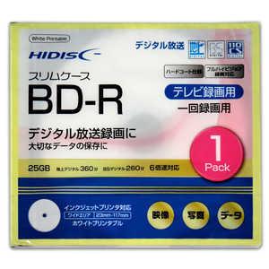 HIDISC 録画用 BD-R 1-6倍速 25GB 1枚「インクジェットプリンタ対応」 HDBDR130RP1SC