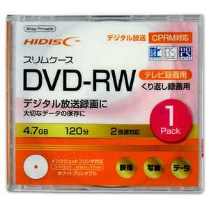 磁気研究所 HIDISC 録画用 DVD-RW 1-2倍速 4.7GB 1枚 「インクジェットプリンタ対応」 HDDRW12NCP1SC