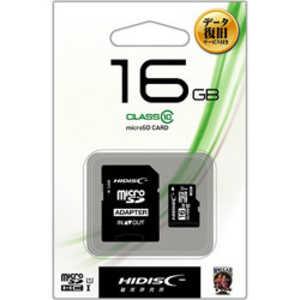 HIDISC microSDHCメモリーカード UHS-I/UHSスピードクラス1対応(SDHC変換アダプタ付き) 「Class10対応/16GB」 HDMCSDH16GCL10DS