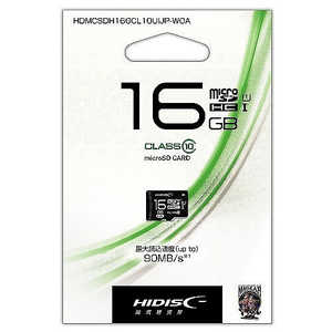 HIDISC microSDHCカード 16GB CLASS10 UHS-1対応 HDMCSDH16GCL10UIJPW
