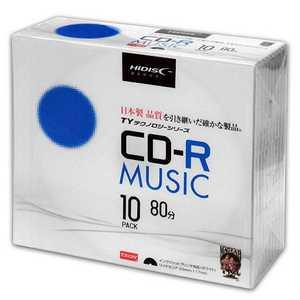 「TYテクノロジーシリーズ」HIDISC CD-R音楽用 48倍速 5mmスリムケース 10枚 TYCR80YMP10SC