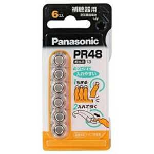 パナソニック Panasonic 空気亜鉛電池(6個入り) x6PR48 PR486P