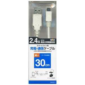 ラスタバナナ スマートフォン用USB2.0ケーブル 充電・転送(30cm) WH RBHE217