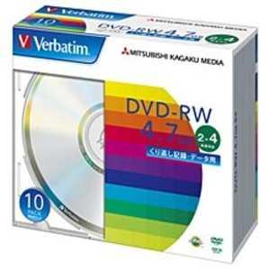 VERBATIMJAPAN 2~4倍速対応 データ用DVD-RWメディア(4.7GB・10枚) W-S10#2-4 DHW47Y10V1