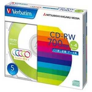 VERBATIMJAPAN データ用CD-RW(1-4倍速対応/700MB)5枚パック 80Wx5#x4 SW80QM5V1
