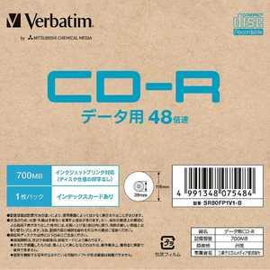VERBATIMJAPAN データ用CD-R 1枚パック PB SR80FP1V1B