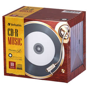 VERBATIMJAPAN バーベイタム 音楽用CD-R 10枚 インクジェットタイプ ジェルケース レコードデザインのCD-R AR80FHP10V6
